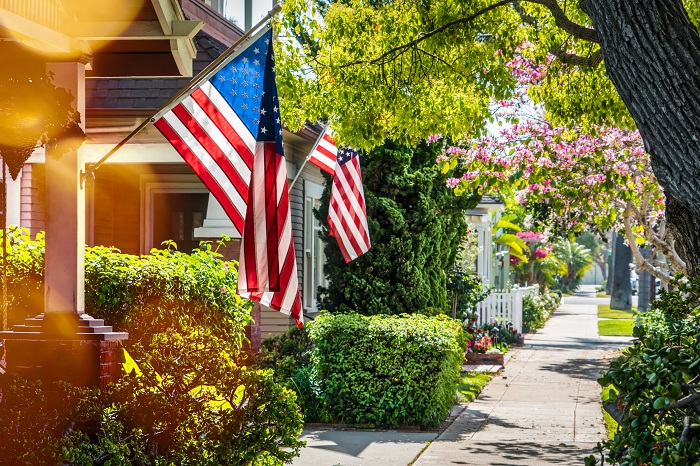 Residential Homes With American Flags